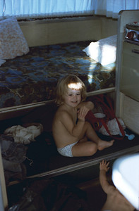 Two year old Marsha in a little camp trailer, Reno, Nevada 1982
