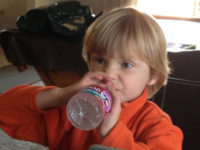 Washing down the snacks. (I-Phone Photo)