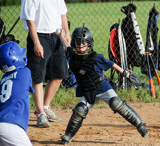 Carson plays catcher, June 2010