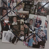 Collage of family from her kitchen at home also went with her to Atria.