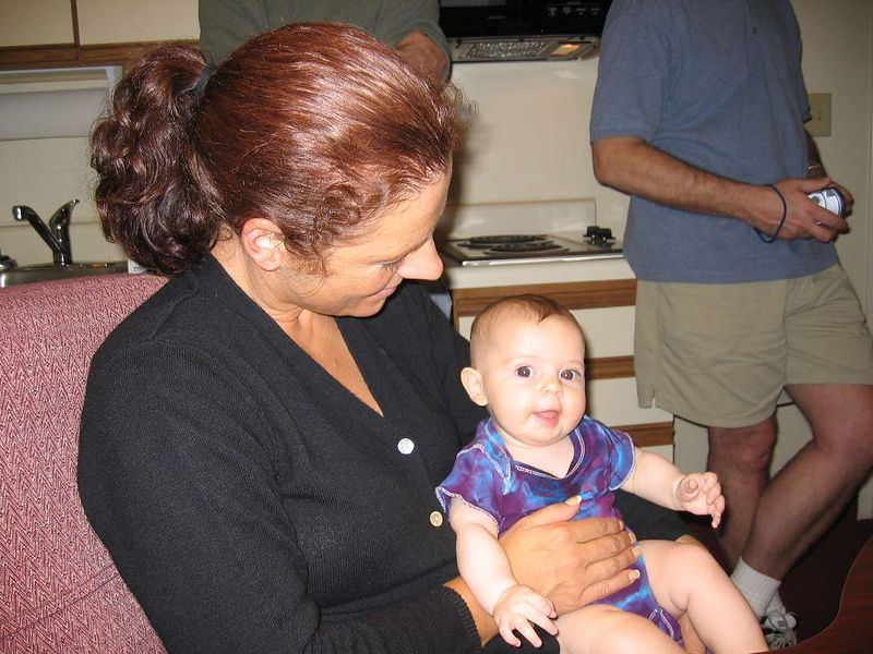 June getting her baby fix holding Adrian.