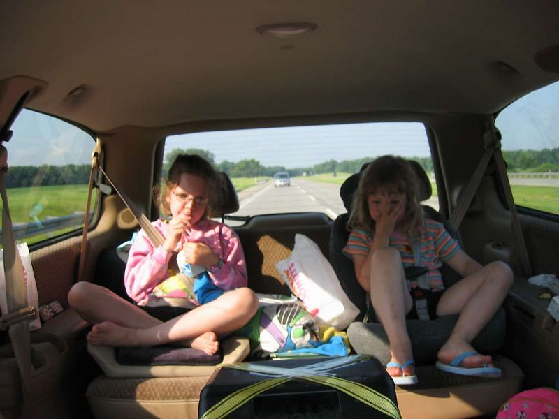 Rowan and McKenna passing the time away watching videos on the way to New Jersey.