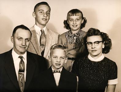 Front: Grandpa (Herman), Ron, Grandma (Kathryn). Back: Rog, Sandy