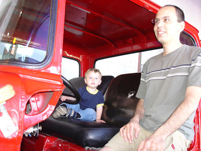 We went to the Children's Discovery museum. Lincoln enjoyed the fire truck.