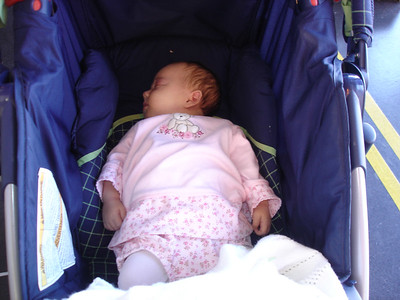 Adelaide took a nap in the stroller at the museum.