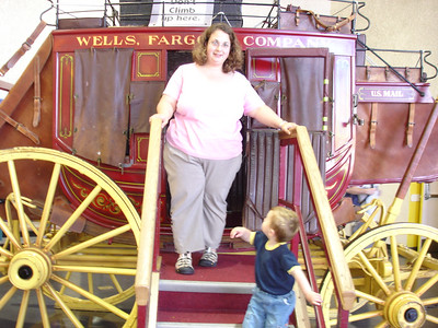 Mommy and Lincoln in the stage coach.