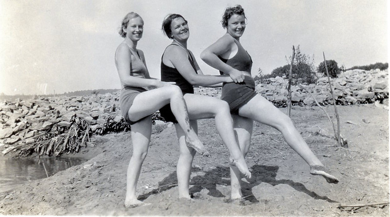 Bathing beauties<br /> Ruth Ann's in the middle; Grandma Rita's in front