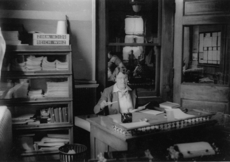 Grandma Rita at her desk -- but where?