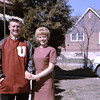 Merlin and Sally in front of the Driggs house in AF in his new letterman's jacket.
