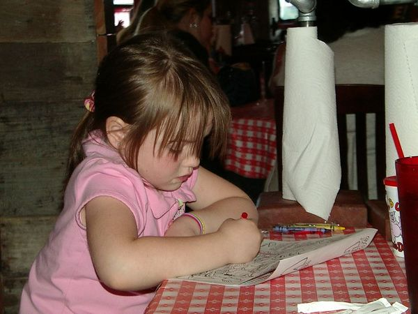 <br><br><font size=3>Kate, passing time with a crayon.</font>