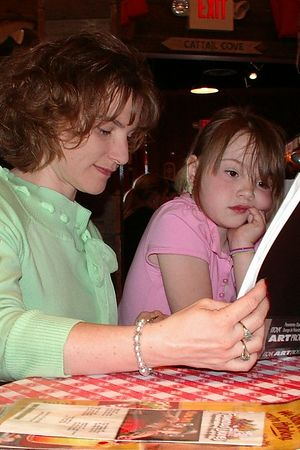 <br><br><font size=3>Kate and mom, looking at pictures.</font>