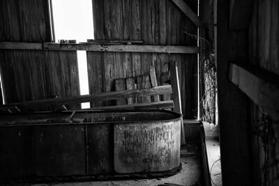 Inside the old barn.