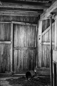 Inside the barn.