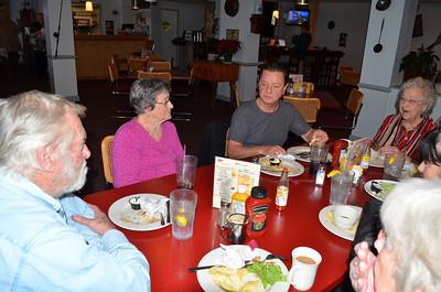 Around the table:  Lee, Aunt Jessie, Jimmy, Grandma Scott, Len and Judy.