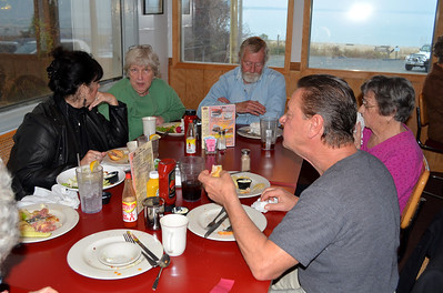 Having a family lunch at Willaby's Restaurant on the river near Aunt Jessie's house in Kilmarnack.