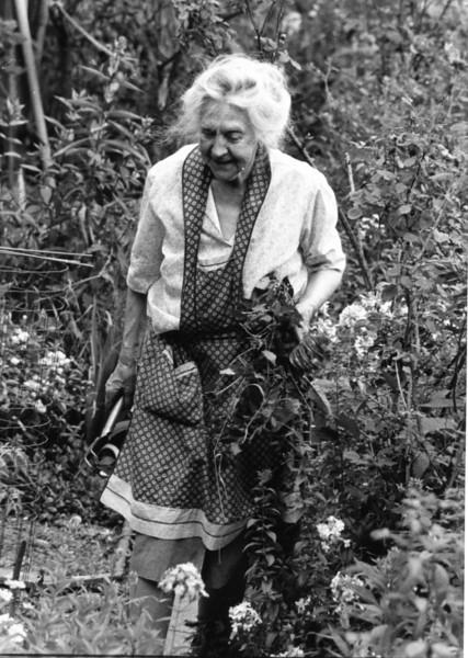 Working in her garden
