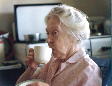 Grandma having her morning cup of coffee