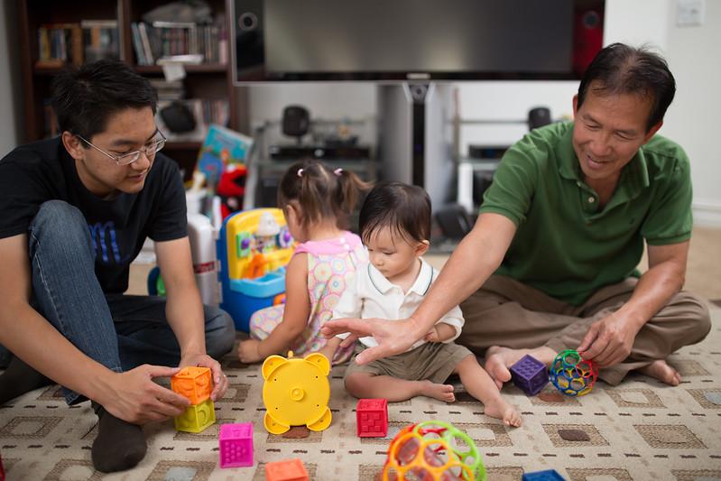 Uncle Richard and Grandpa Kim play with Noah