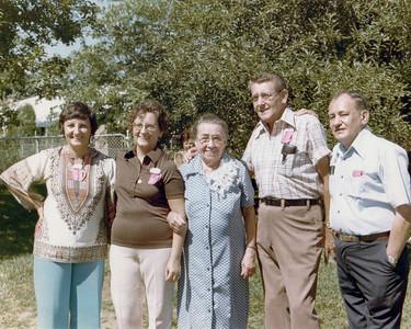 Aunt Elaine, Aunt Janet, Grandma Wentzel, Uncle Robert, Dad pictured at Grandma Wentzel's 70th(?) birthday party.