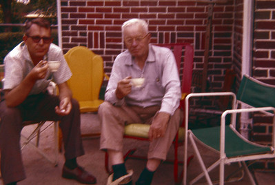 Vernon and his father having coffee on Columbine Ave in Denver around 1958.