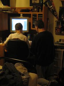 Aaron and Chris doing music program on computer
