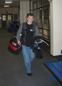 Aaron after hockey practice, Dec 2005