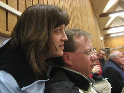 Heather and Chris watching Aaron in school concert, Dec 2005.