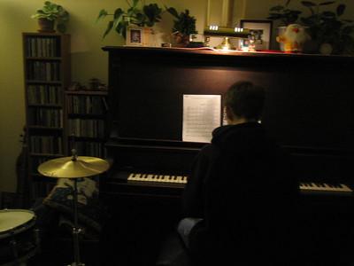Aaron practicing piano
