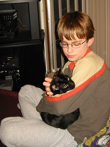 Aaron and his cat Wiley. Jan 1, 2004.