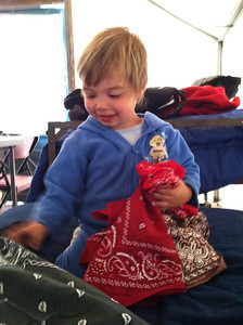 Playing with bandanas in our tent-cabin