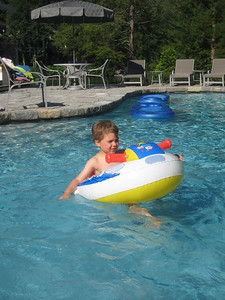 Mateo enjoyed this boat in the pool at Mimi and Poppa's house in CT.