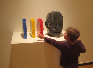 """We also went into the Springfield Museums briefly to see the LEGO exhibit.    This one is called """"Ideas."""""""