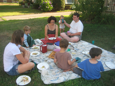 We enjoyed a picnic supper with our neighbors, the McManus family, after the afternoon of earth-moving.