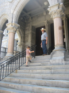Later we took Mateo on errands, including the Farmers Market, Holyoke City Hall (shown here), and a finishing factory, where we picked up the just-painted doors for our new cellar hatchway.