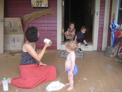 Then we stopped at a neighbor's house and joined in the fun of making BUTTER by shaking cream in a jar.