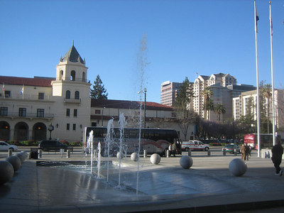 View in front of  San Jose McEnery Convention Center