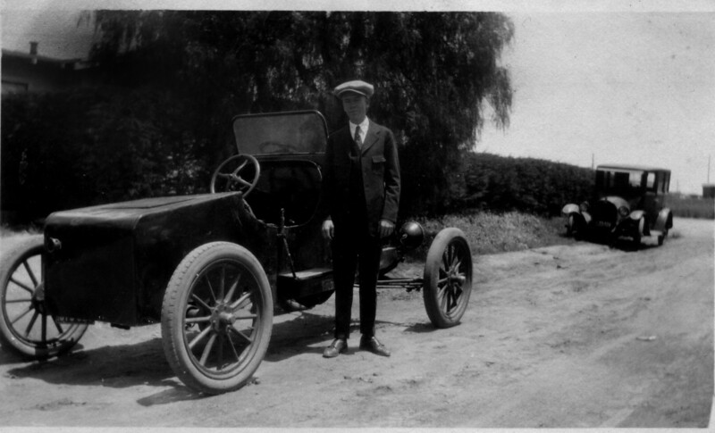 My Grandfather Francis Grimsaw Granger about 1924 in Long Beach, CA.   What does a teenage blacksmith do when he wants a car?  Build one out of salvaged parts!  Probably one of the first hot rods ever built, who knows how many cars were combined to build this little speedster.  Dressed in his finest clothes, he looks pretty proud of his ride. He got a ticket from the Orange Police department for speeding in 1925.