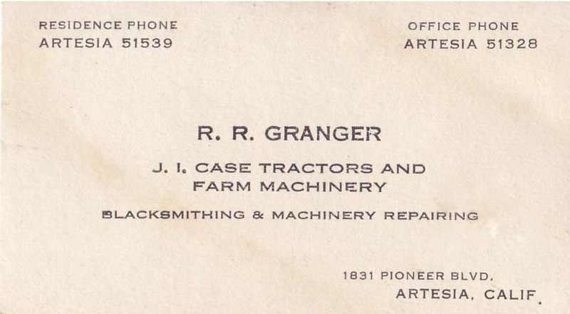 Great Grandfather Robert Reginald Granger's business card.