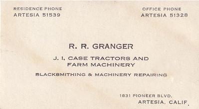 Great Grandfather Robert Reginald Granger's business card.