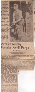 """Article about my Great-Great Grandfather retiring from the Blacksmithing business.  He was called the """"last of the village smithy's"""""""