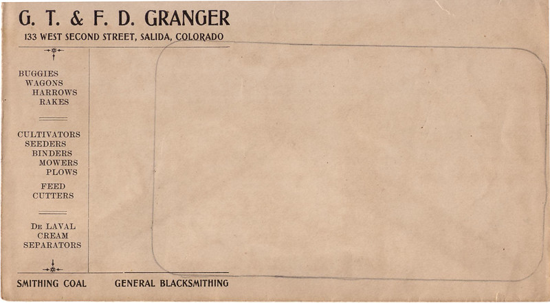 Granger Blacksmithing billing envelope.