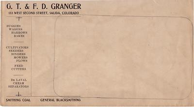 Granger Blacksmithing billing envelope.