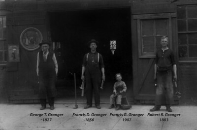 Granger Blacksmithing Shop in Salida, Colorado in 1913.   The little boy on the stool is my Grandfather, Great Grandfather on his left, Great-Great Grandfather on his right, and my Great-Great-Great Grandfather Granger on the far left.    George T. Granger was born in 1827 and served in the Civil War as a blacksmith in Washington DC from Mid 1863 to the end of the war.   I will be posting his civil war diary soon which talks about the events of the day.