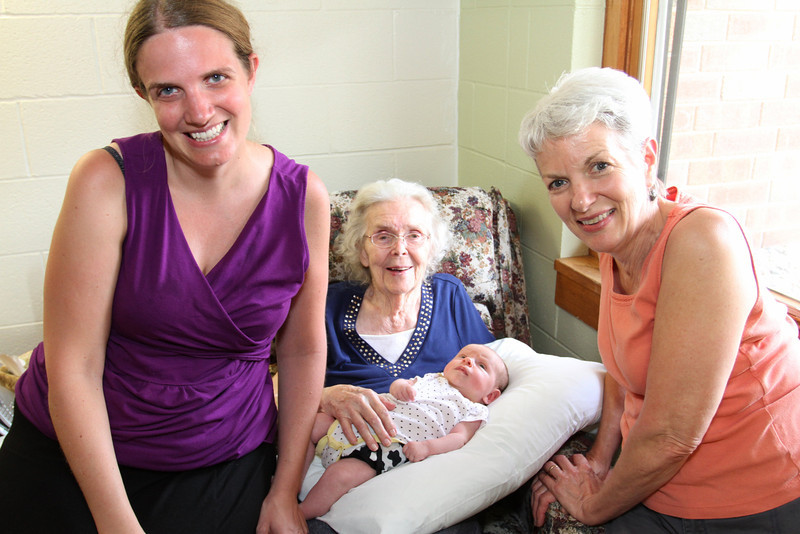 Four generations share a moment- at Center is Ruth Grace held by her Great Grandmother Anna Ruth Neff Haynes.  To the right is Anna Ruth's daughter (Ruth Grace's Grandmother) Sarah Kathleen Haynes Sweitzer.  On the Left is Sarah's daughter Erica Lynn Sweitzer-Beckman - mother of Baby Ruth.  This week Anna Ruth will celebrate her 92nd Birthday with friends and family.