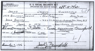 Jacob Greenfield Social Security Application