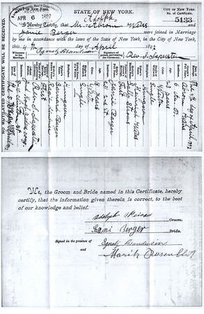 Adolph and Jeanie Weiss Marriage Certificate