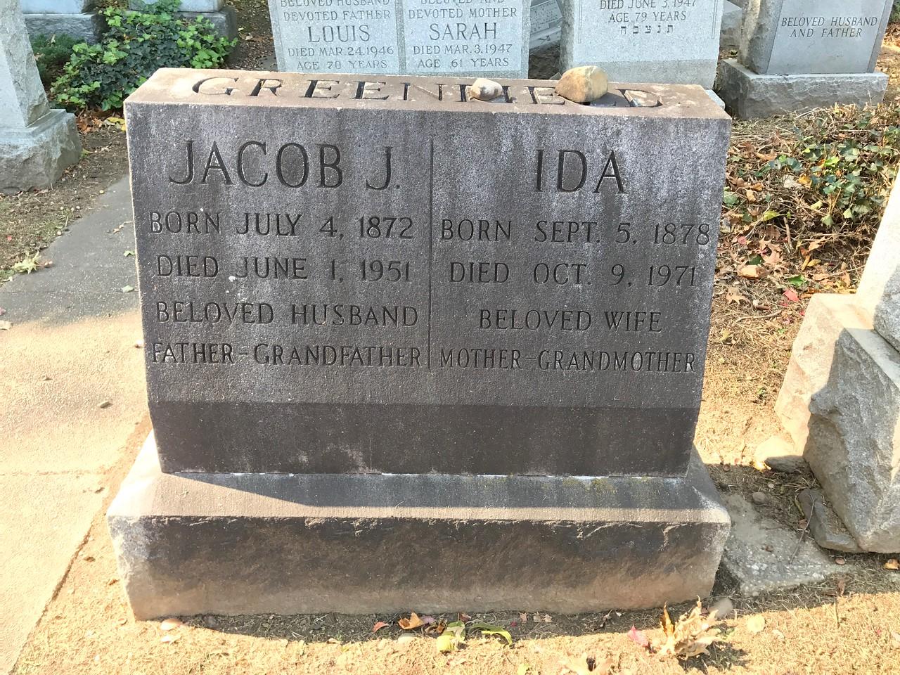 Jacob and Ida Greenfield Tombstone