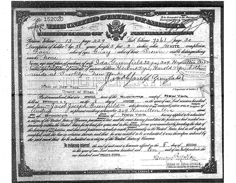 Jacob Greenfield Certificate of Naturalization