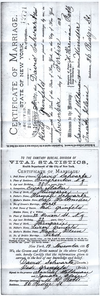 David Schwartz and Katy Greenfield Wedding Certificate