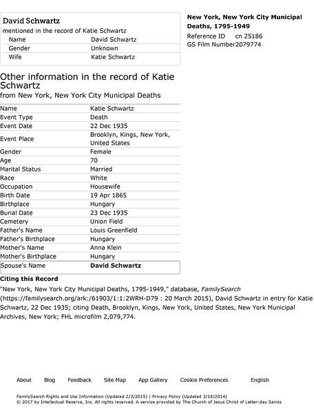 Katie Schwartz NYC Death Information